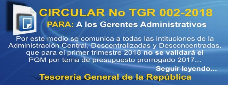 2018: CIRCULAR No. TGR 002 2018